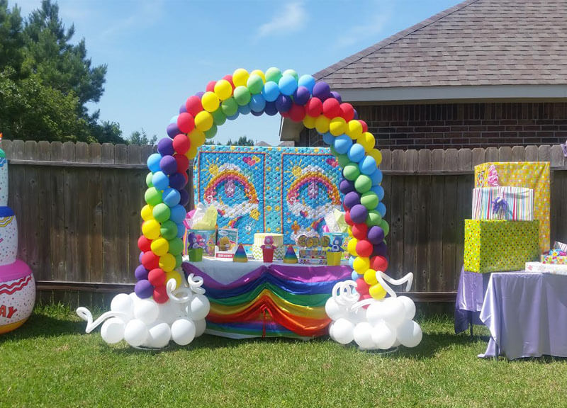 Rainbow houston balloon decorations